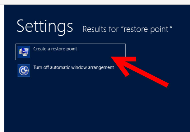Create System Restore point in windows 8 step 2