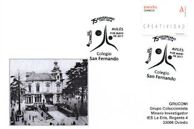Tarjeta del matasellos del 75 aniversario del Colegio San Fernando de Avilés