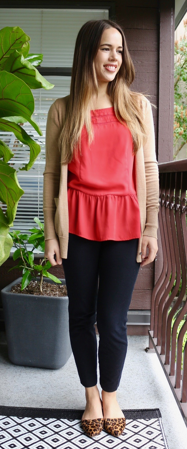 Jules in Flats - Red Peplum Blouse with Leopard Print Flats and Camel Cardigan