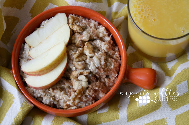Fresh gluten free oatmeal topped with apple, walnut and cinnamon from Anyonita Nibbles Gluten Free