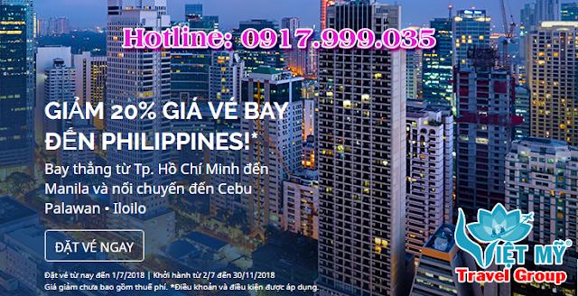 Giảm 20% giá vé máy bay đi Philippines