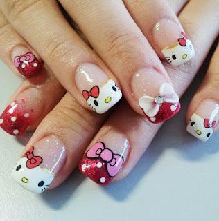 Gambar Nail Art Hello Kitty yang Cantik 1