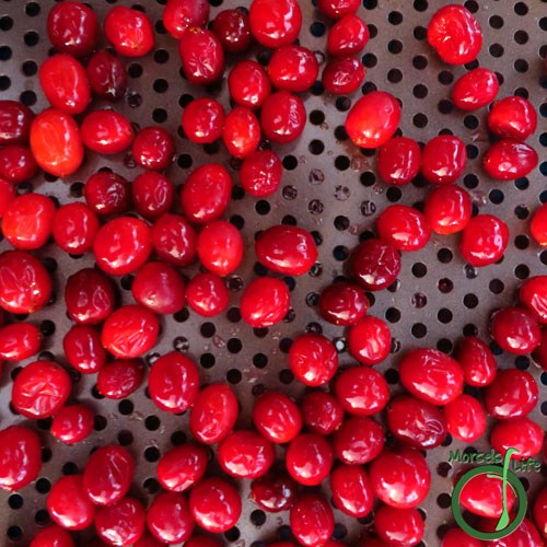 Morsels of Life - Sugared Cranberries Step 4 - (optional) Strain the cranberries from the sugar solution, and allow sugar solution to dry.