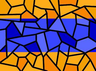 Mosaik mit Orange und Blau