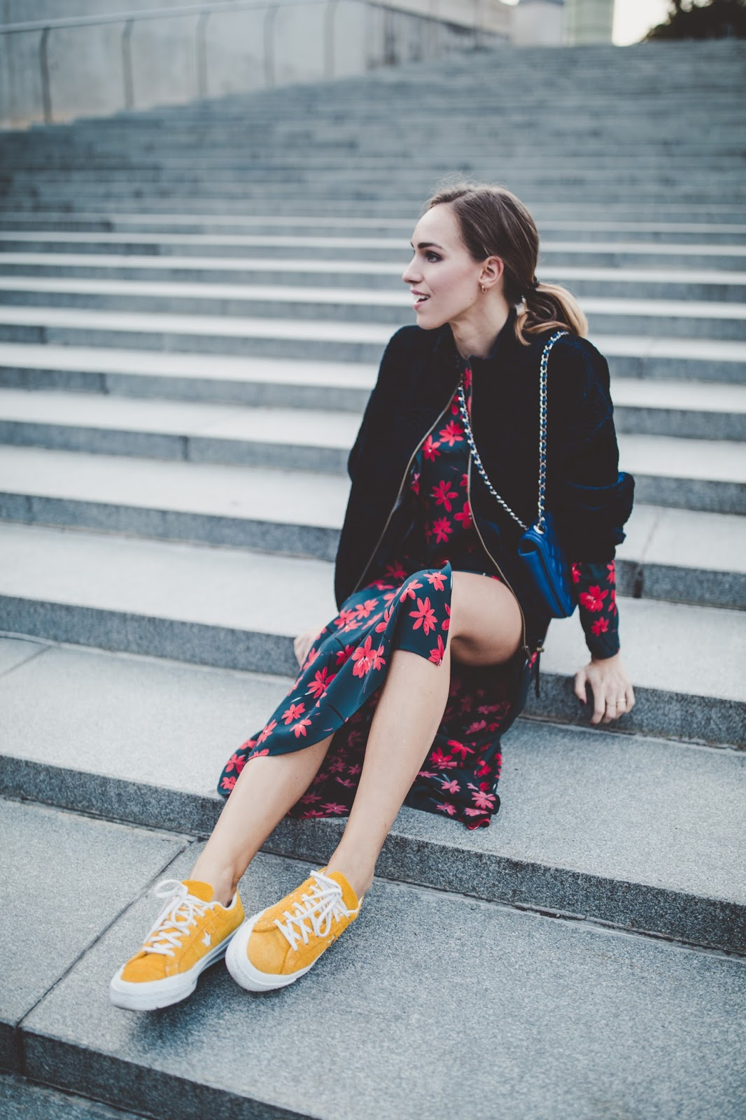 floral midi dress sneakers outfit fall