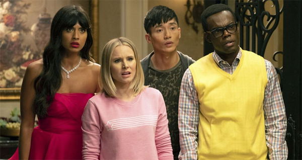 image of Tahani, Eleanor, Jason, and Chidi, looking quizzical in an episode of The Good Place