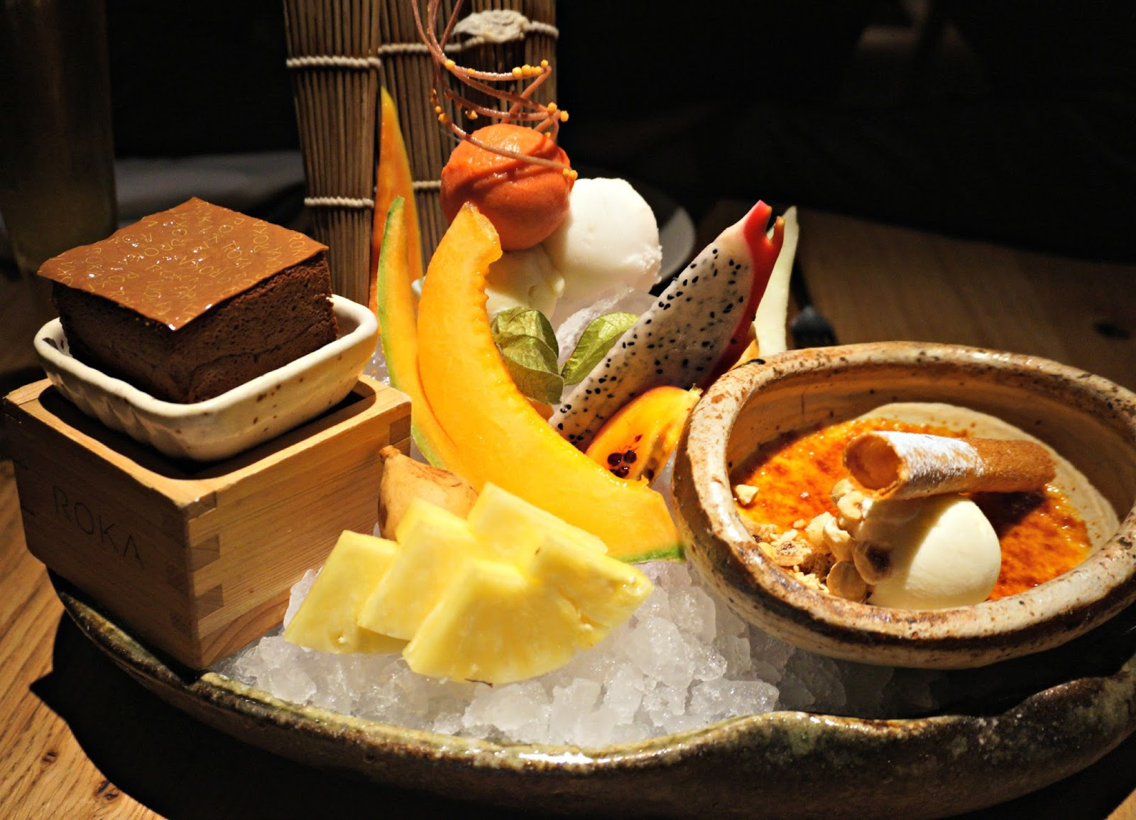 dessert platter with fruit and chocolate