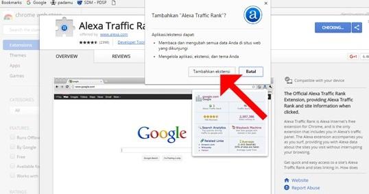 Tambahkan Toolbar Alexa Traffic Rank