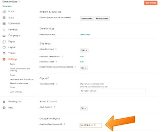 Google Analytics tracking id submit in blog