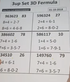 Thai Lottery 3up Direct Sets For 01-10-2018