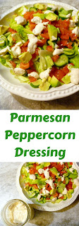 Parmesan Peppercorn Dressing - homemade dressing at it's best!  Perfect over this Garden Salad with Avocado and served at your next outdoor meal! - Slice of Southern