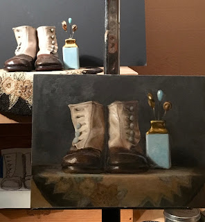 progress shot, original oil painting, still life