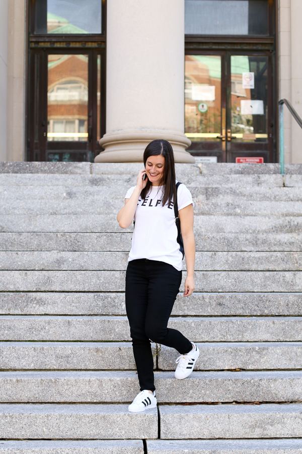 Naturally Me, Celfie Tee, Black Jeans, Fall Outfit Idea, Adidas Superstar, Casual Fall Outfit Idea