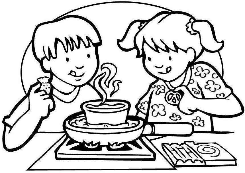 Gambar Mewarnai Memasak Membuat Kue Di Dapur Gambar Mewarnai Lucu