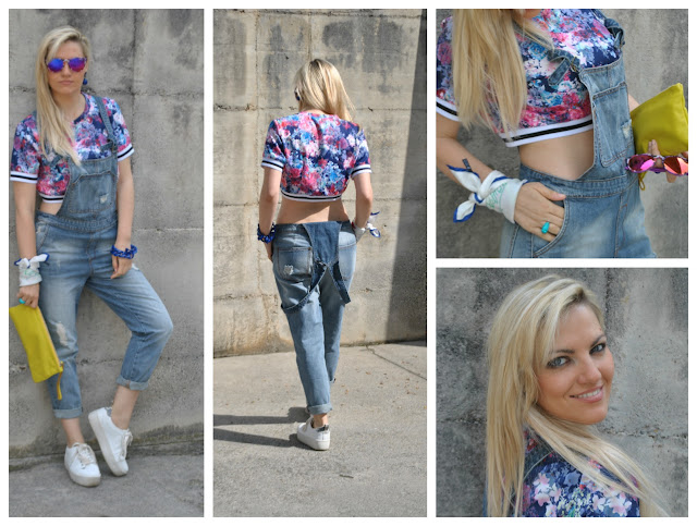 outfit salopette in jeans e crop top a fiori come abbinare la salopette come abbinare il crop top how to wear crop top how to wear denim jumpsuit outfit giugno 2016 outfit estivi june outfit mariafelicia magno fashion blogger colorblock by felym fashion blog italiani fashion blogger italiane blogger italiane di moda blonde girls blondie ragazze bionde