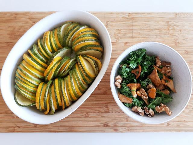 Viherkaali, pähkinä ja kantarellisalaatti