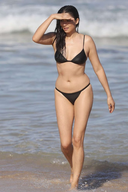 Jessica Gomes in Black Bikini on the beach in Sydney