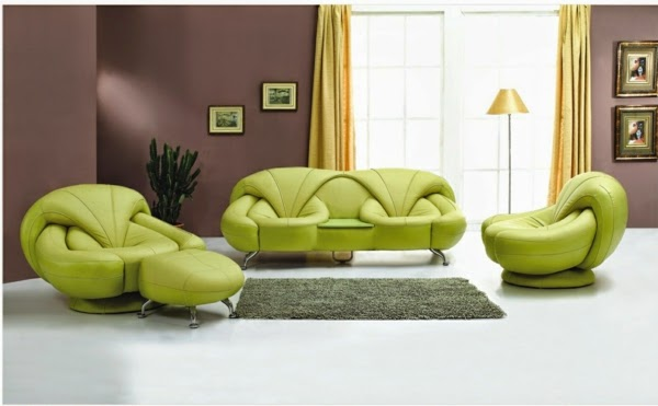 Salas con sof verde salas con estilo for Color verde grisaceo para paredes