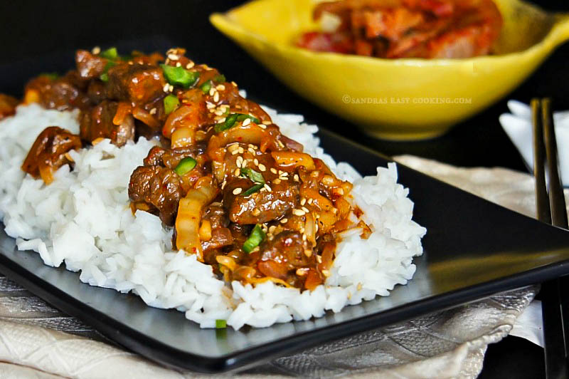 Simple recipe for Slow Cooked Beef with Kimchi served over rice