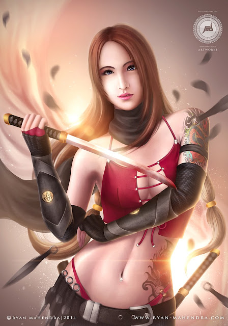 kunoichi, female ninja, ninja girl, kunoichi ninja, fantasy, illustration, drawing, digital painting, digital drawing, ryan mahendra
