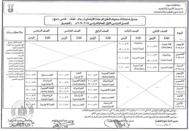 جدول إمتحانات الصف السادس الابتدائى الترم الأول محافظة أسوان 2020