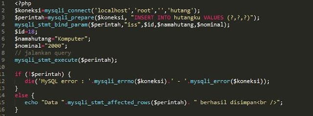 menginput data dengan php mysqli prepare procedural
