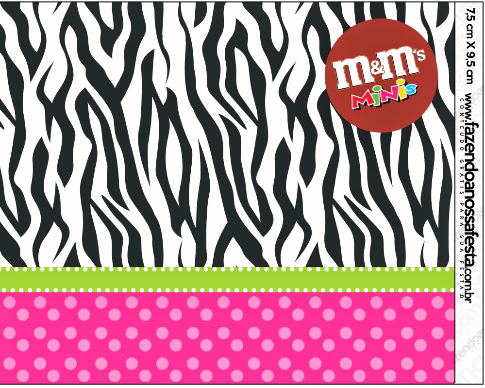 Zebra and Pink Free Printable M&M Candy Bar Labels.