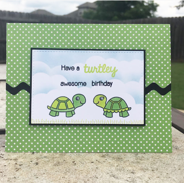 Sunny Studio Stamps: Turtley Awesome Turtle card by Caren Bosu