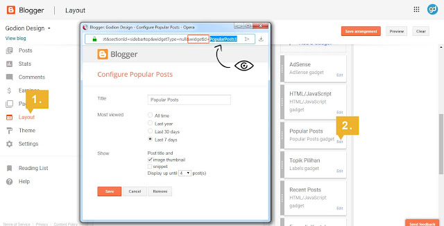 Semak widget Id di blogger