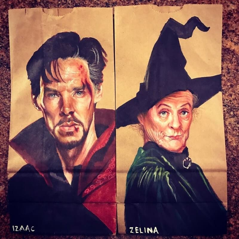 15-Benedict-Cumberbatch-and-Maggie-Smith-L-Jinks-Brown-Bag-Art-Father-and-Drawings-for-Children-www-designstack-co