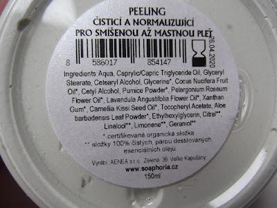 soaphoria Čistiaci & normalizujúci peeling na zmiešanú až mastnú pleť zloženie