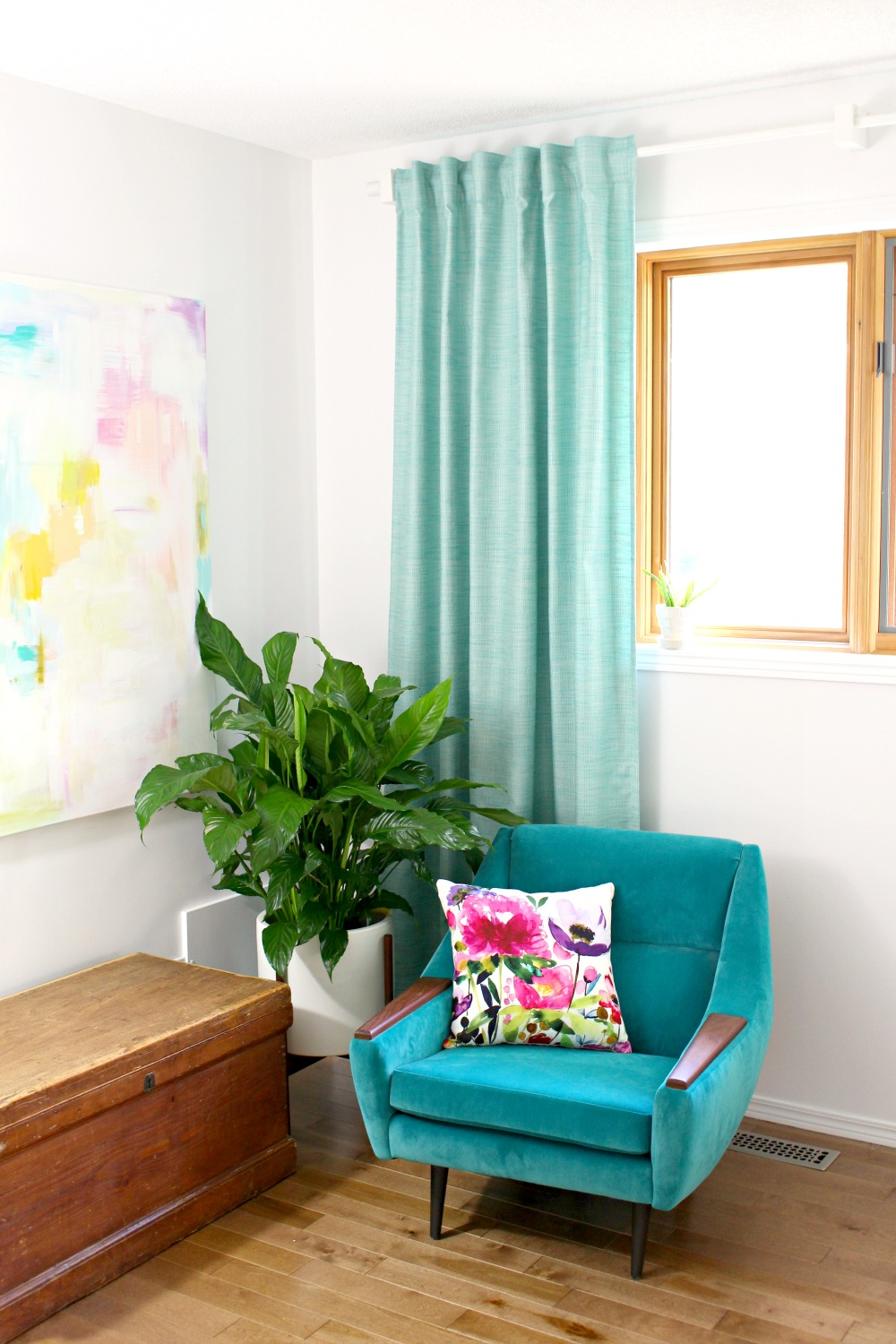 Colorful Mid-Century Modern Inspired Home Office Makeover   Before + After
