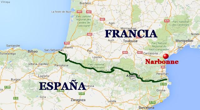 mapa Narbonne ubicacion