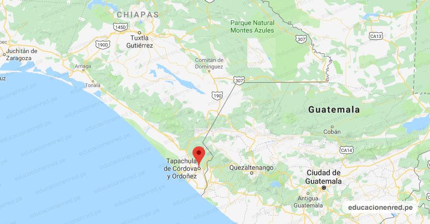 Temblor en México de Magnitud 4.1 (Hoy Domingo 28 Julio 2019) Sismo, Epicentro, Tapachula de Córdova y Ordoñez, Chiapas, CHIS., SSN, www.ssn.unam.mx