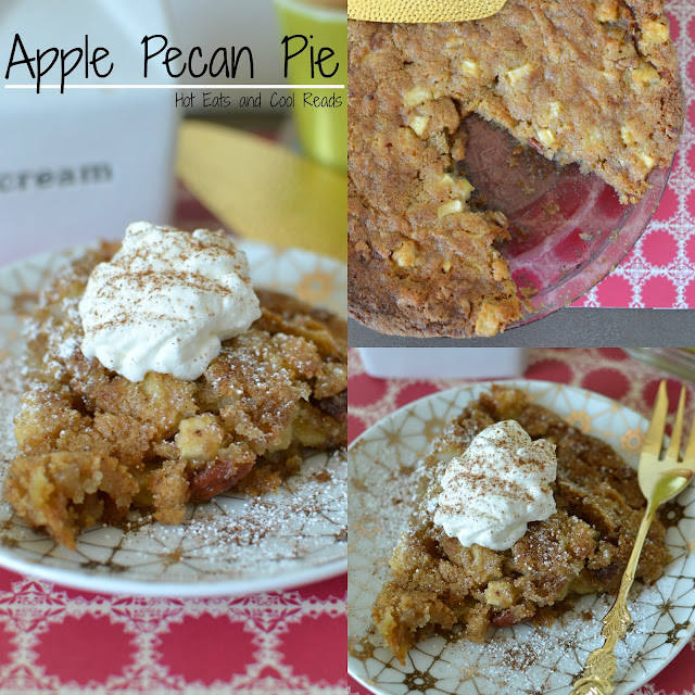 Apple Pecan Pie Recipe from Hot Eats and Cool Reads! This simple and delicious fall dessert is great for any occasion! Great autumn flavors with the apples, nutmeg and cinnamon and topped with some delicious homemade whipped cream!