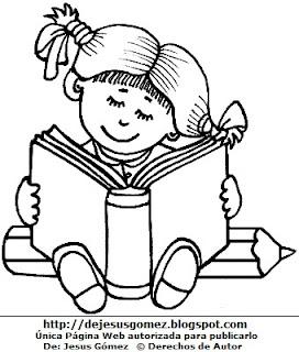 Dibujo de una niña sentada con su libro para colorear pintar. Dibujo de una niña por Jesus Gómez