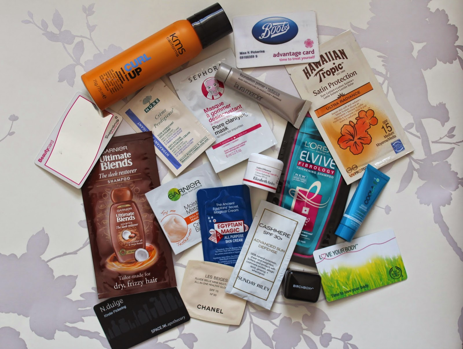 samples boots superdrug body shop space nk elvive garnier loreal sephora nuxe chanel elizabeth arden laura mercier kms