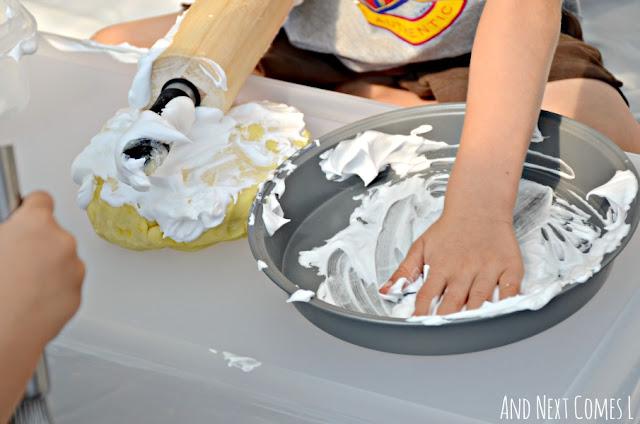 Shaving cream sensory play idea for kids using lemon scented play dough