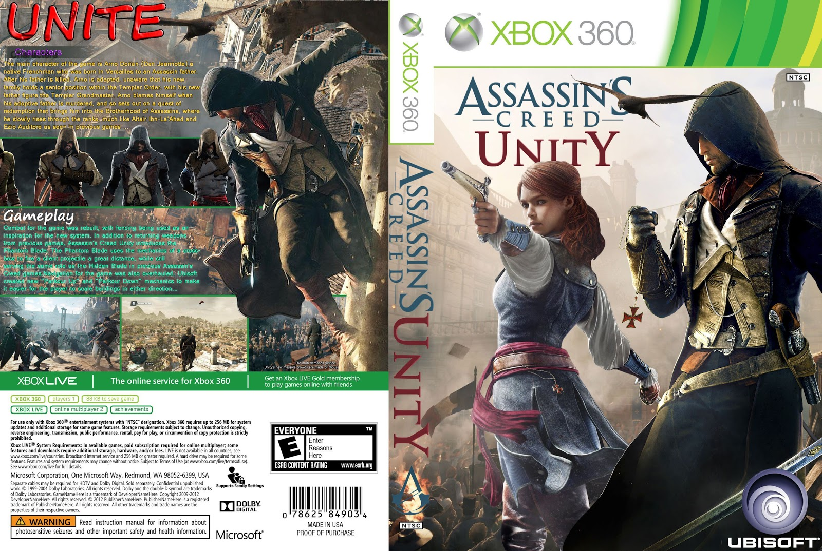Capa Assassins Creed Unity Xbox 360