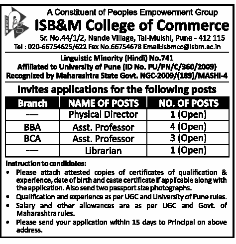 Isb Amp M College Of Commerce Wanted Assistant Professor