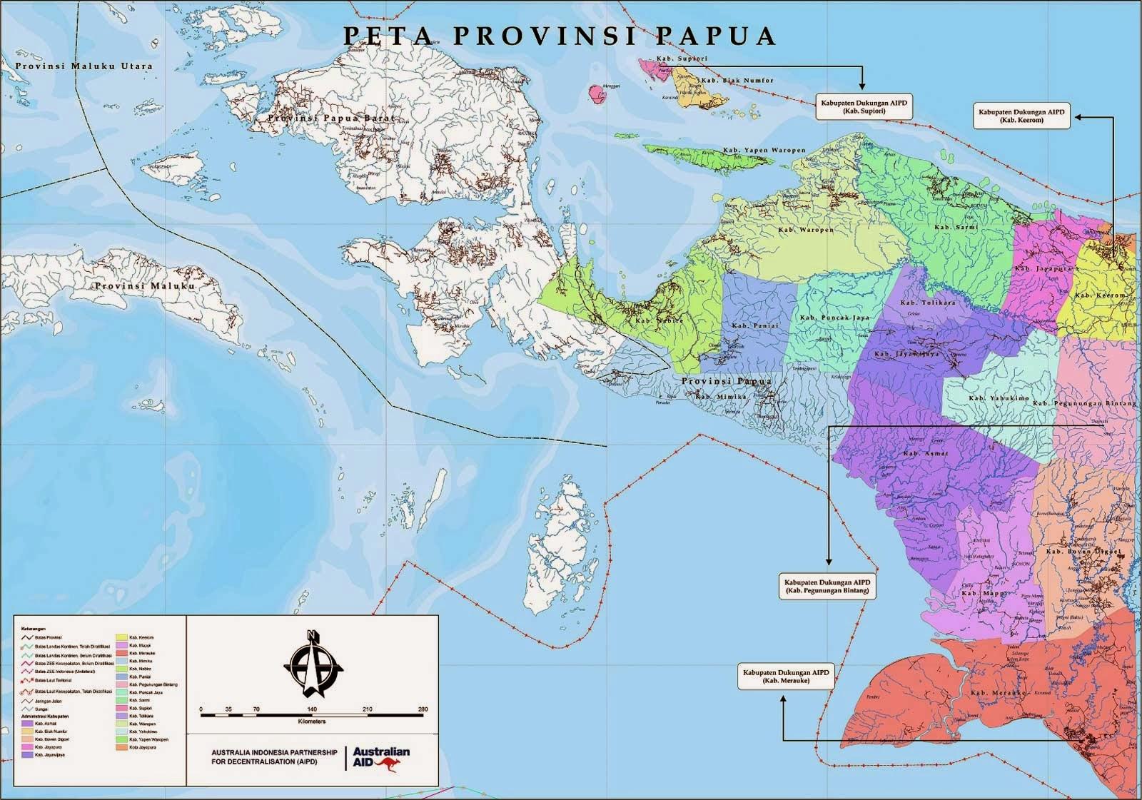 Peta Papua (kabupaten kota)