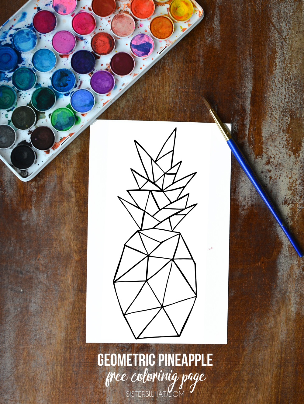 Geometric pineapple free coloring page - perfect for watercolor!