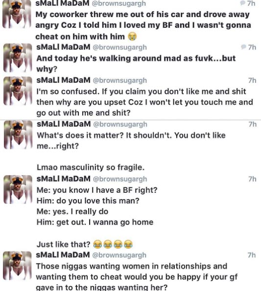 Lady recounts how she was bounced from a car because she wouldn't cheat on her boyfriend