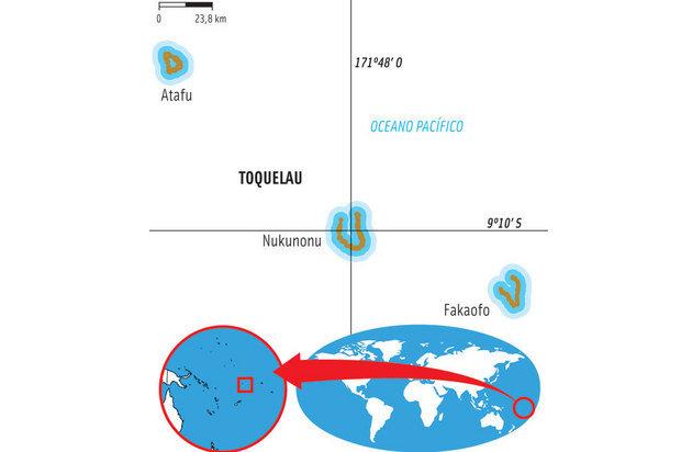MAPA DE TOQUELAU, TERRITÓRIO DA NOVA ZELÂNDIA