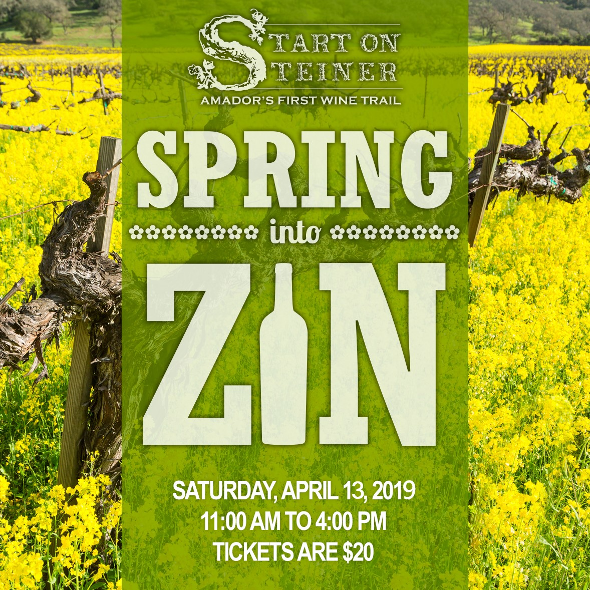 "Start on Steiner: ""Spring Into Zin"" - Sat Apr 13"