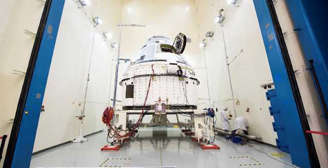 Boeing's Starliner prepares for acoustic testing at Boeing's spacecraft test facilities in El Segundo, California. This vehicle, known as Spacecraft 2, will fly Starliner's Crew Flight Test after it returns to Florida from environmental testing. Credits: Boeing