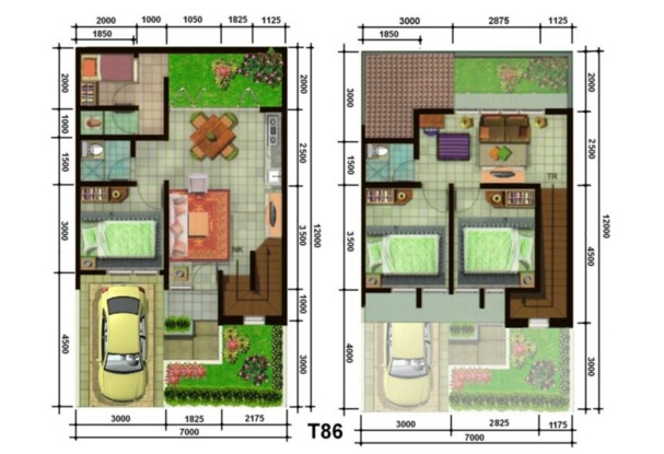 Minimalist House Plan Type 70 Two Floors 1