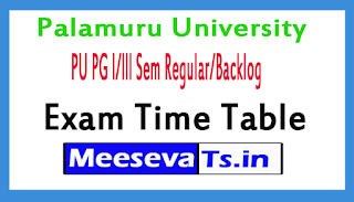 Palamuru University PU PG l/lll Sem Regular/Backlog Exam Time Table