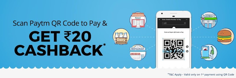 Paytm - Get Flat Rs.20 Cashback on Payments of Rs.20 or More By the Scanning QR Code