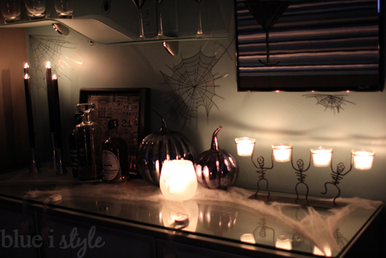 i am really happy with the way the kitchen decor came together but its especially fun at night when all of the candles are lit - Halloween Kitchen Decor